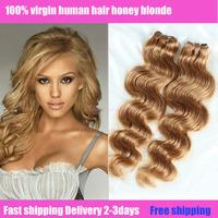 Queen berry cheapest good becuty 4pc or 5pcs brazilian virgin human honey blonde sensational hair extensions each piece 60g-70g