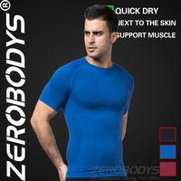 Fast Shipping ZEROBODYS Outdoor Mens Body Shaper Quick Dry Short Sleeve 391 BU Dry Quick Polyester Short Sleeve Mma T-shirts Men