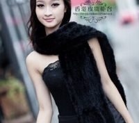Free Shipping New Arrival 2014 Women's Mink Fur Knitted Scarf