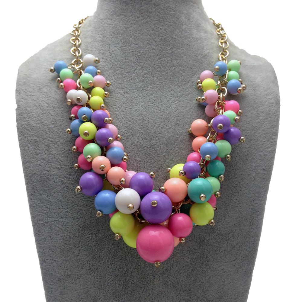 Новые мода конфеты цвет кулон ожерелье многослойные цепи перлы ожерелье женщины колье ожерелье ювелирные изделия оптовая продажа 2014