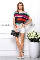 Camisa Chiffon Seda Musseline Blusas Femininas Women's Striped Blouses Short Sleeve Tops Shirt S-XXXL Plus Size Free Shipping