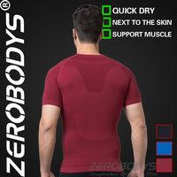 Fast Shipping ZEROBODYS Outdoor Mens Body Shaper Quick Dry Short Sleeve 391 RD Sports T-shirt Fitness Clothing T Shirt Tight Men