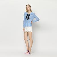 YIGELILA 7185 Latest Autumn New Women Fashion Elegant Lace Bow Shirt Tops Free Shipping