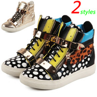 GZ Punk Genuine Leather Leopard-grain Fashion Sneakers,Double Zipper,Street Shoes,EU35-40,Height Increasing 4cm,Women's Shoes