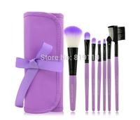 Romantic Purple Makeup Set 7pcs 7 pcs Make up Brushes Synthetic Hair Makeup Brush Set Kits Cosmetics case bag Hotsale for women