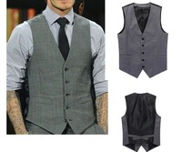 5ag 2014 British style Men's Casual Suit V-neck Vest Tops Slim Dress 5 Buttons Jacket Vests Fitted Leisure business Waistcoat