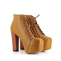 Free shipping Fashion Women Ladies 4 Color Lita platforms high heels Lace Up boots Ankle shoes size 35-40