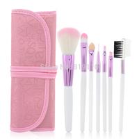 Pink English Letter Pattern makeup bag + 7 Pcs Makeup Brushes Set & Kits for  fashion Girl cheap  Make up Accessories & tools