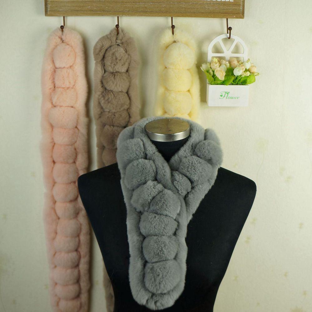 2014 rex rabbit hair scarf fur muffler scarf fashion hair bulb Women thermal cute knitted scarf(China (Mainland))
