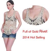 2014 real sale regata feminina camisole fashion women sexy rivet lace tank top rhinestone lady crop clothing free shipping tk26