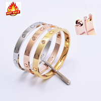 New style lover silver rose 18k gold 316L stainless steel never lose screw bracelets bangles with screwdriver and original box