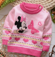 2014 fall winter,reborn babies girls sweaters,cartoon mouse pullover,bebe reborn clothing,roupa bebe knitted sweater,next