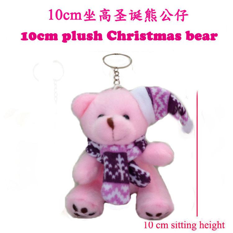 24 pcs/lot, H=10cm, W=30G, Plush Christmas teddy bear, pink, Christmas tree bear pendent, stuffed teddy bear toy, Christmas gift(China (Mainland))