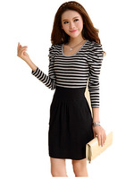 Free Shipping 2014 Large size women's beauty Black Gray Stripe OL Slim Dress,Long sleeve dresses large size L XL XXL XXXL