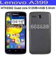 "Original lenovo A399 MTK6582M Quad core Phone 1.3GHz 512MB RAM 4GB ROM Dual Sim android 4.4 5.0"" TFT screen 3G WCDMA smartphone"