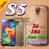 Waterproof Real 2g ram 16g rom S5 phone Heart rate 1:1 I9600 Phone MTK6592 octa core 16MP Original screen 1920*1080 Smart Phone