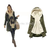 2014 new Women Long Sleeve Thicken Fleece Hooded Parka Lady Winter Coat Jacket Outwear Green Black Free Shipping  A359