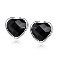 GNE0987 Fashion 925 Sterling Silver Earrings Vintage Black Agate Hearts Earrings 7*7.3mm For women Free Shipping Wholesale