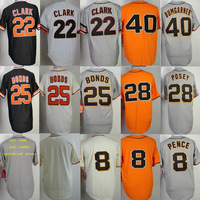 8 Hunter Pence 22 Will Clark 25 Barry Bonds 28 Buster Posey 40 Bumgarner baseball jersey,custom jerseys Cheap baseball jersey
