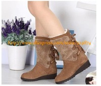 2014 Lady Motorcycle Fur Warm Cotton Mid-Calf Boots,New Autumn Winter Women Genuine Leather Martin Snow Boots,