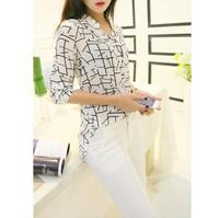 Free shipping 2014 New fashion Shirts for Women Summer Women Long-sleeve Print Chiffon Shirts Fashion Slim Blouses WF-636