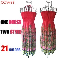 21colors halter-neck paragraph bohemia beach dress