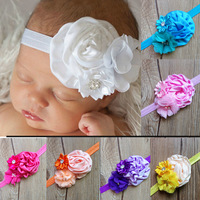 8set/lot Baby toddler Infant hair accessories Shabby Flowers layered crystal button baby headbands hair bands Free Shipping