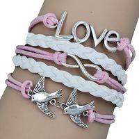 2 Colors Fashion Vintage Peace Dove Infinity Love Bracelet Multilayer Leather Bracelet For Women