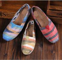 New brand women canvas shoes flats casual shoes multicolour stripe casual sneakers 3 colors KZ316
