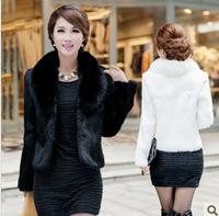 2015 Korean version leather jacket short paragraph Haining new grass imitation  faux women lady female mink fox fur collar