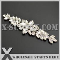 Free Shipping 1pc/lot Silver Crystal Bridal Rhinestone Applique Trim  for Bridal Wedding Costume Dress, X12-0007