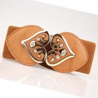 2014 Fashion Metal Wide Elastic Letter Women Brand Designer Cummerbund Leather Belt Woman Waistband Femal Ceinture Free shipping