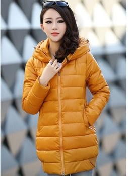 8 Цветs 2014 winter Закрытый down coat Женщины pu leather padded Хлопок jacket Korean ...