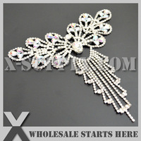 Free Shipping 1pc/lot Silver Crystal Rhinestone Applique Trim  for Gown, X12-0010