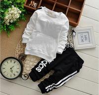 New cotton Toddlers children baby boys girls Sport suit set autumn spring 2pcs clothing set suit Pattern baby shirt + pants sets