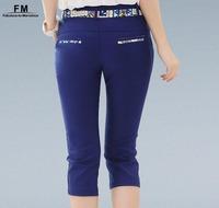 Black White Blue Skinny Pants Women Pants & Capris High Waist Trousers Print Patchwork Waist Pencil Pants Summer 2014 SS14P001