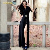 2014 Autumn New European American high-end long sleeved dress high slit black long dress plus size women S-XXL