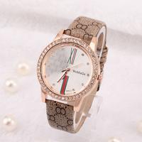 women dress watch 2014 New fashion Women's Leather Strap stainless steel Analog Round Dial Wristwatches Women Rhinestone Watches