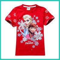 2014 New Frozen Girls T-shirts baby Summer Cartoon Frozen Princess clothing children's short sleeve t shirts baby cotton clothes