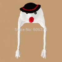 New Hot Design Handmade Knitted Baby Beanie Hat Crochet Pattern Children's Snowman Cap Earflap X Xmas Hat Photo Porps Headwear