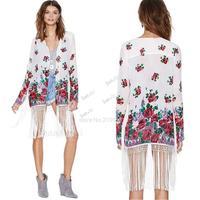 2014 Summer Gypsy Rose Floral Print Elegant Tassel Chiffon Cardigan European Style Woman Kimono Coat Blouses Shirt Jacket b6