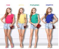 New 2014 Summer Fashion Breathe Shirt Women Blouse Yellow Loose Petal Sleeve Chiffon Shirt Rose Blouse Reffles Girl Clothing