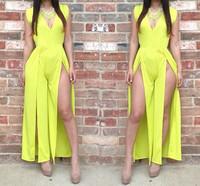 2014 Fashion Yellow Deep V Neck Night Club Sexy Women Bars Hollow Dress Slit Bodycon Dress Sexy Costumes Pole Dance Clothing