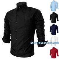 Мужская повседневная рубашка New Spring&Autumn Pure Casual Fashion Men'sJeans shirt, Slim FitnessforMen'sblouse, 2pockets in chestwith3Colors 163-c801-50
