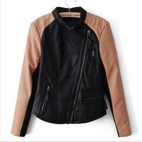 New Women Leather Jacket Winter  Autumn Fashion Brand Color Black Patchwork Zipper Motorbike PU Leather Jacket Coat Outerwear