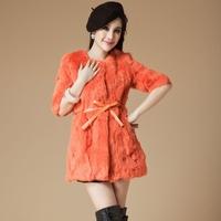 Hot sale 2014 new fashion women fur coat real rabbit fur coats women warm outwear for winter S-XXL