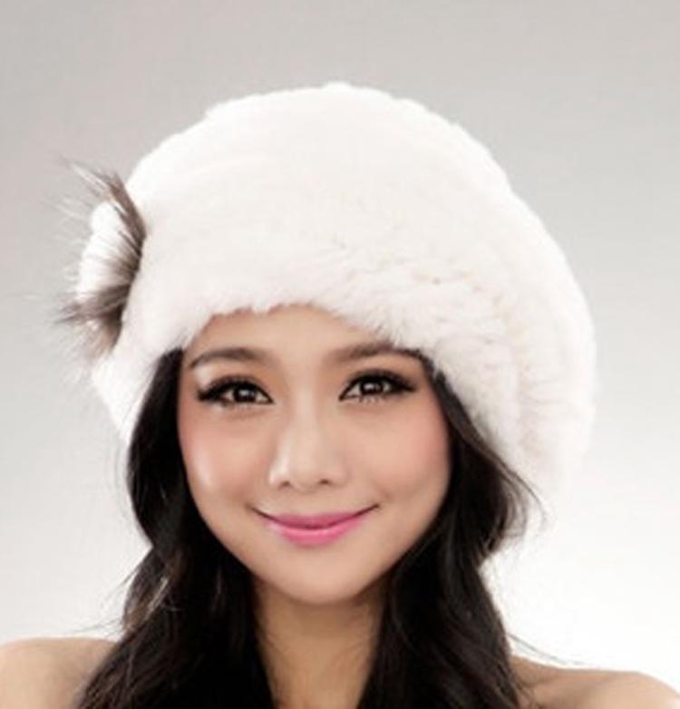 2014 New Genuine Rex Rabbit Fur Hat Knitted Rabbit Fur Cap Real Rabbit Fur Headwear Winter Warm Womens Hat TPH001(China (Mainland))