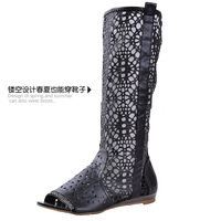 2014 spring and summer women's boots shoes ,peep toes boots , fashion cut-outs boots flat boots shoes for ladies