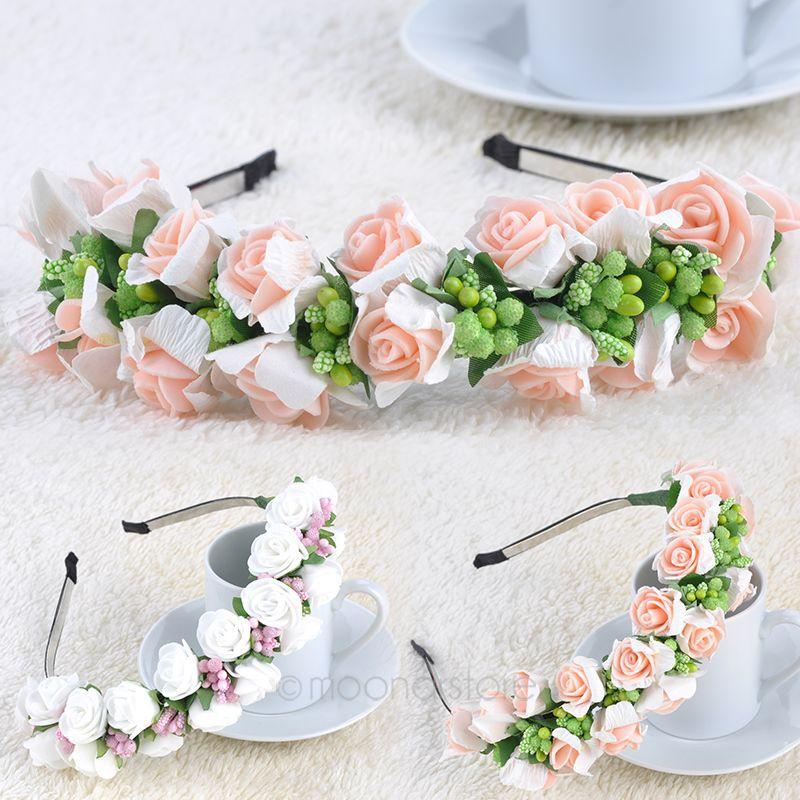 Pink/White Flower Garland Boho Floral Headband Headwear Garland Festival Wedding Bridal Hairband Women Free shipping FMHM049#M1(China (Mainland))