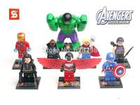Good quality 8pcs/lot mini figures Big Hulk super hero avengers Building Block Sets toys birthday gift free shipping